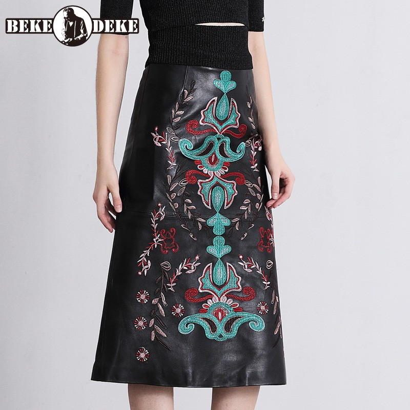 Indie Folk Embroidered Sheepskin Skirt Women Spring Vintage Flower Real Leather A-Line Skirt Elegant Office Lady Skirts M-2XL