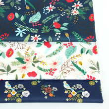 Floral Printed Cotton twill fabric for DIY bedding cloth Sewing patchwork quilting and fashion dress making fabrics
