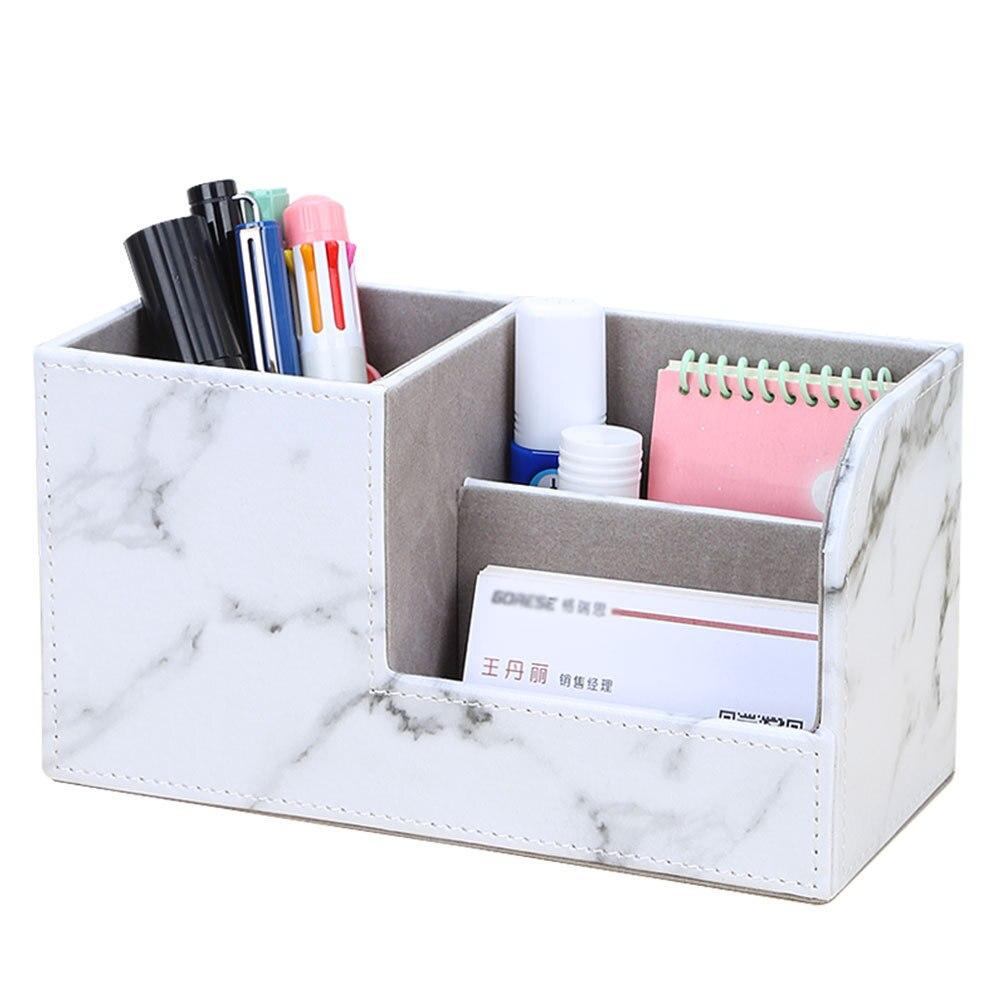 14 Colors Multifunctional Leather Pencil Case Desk Pen Organizer School Office Stationery Storage Makeup Box Desktop Accessories
