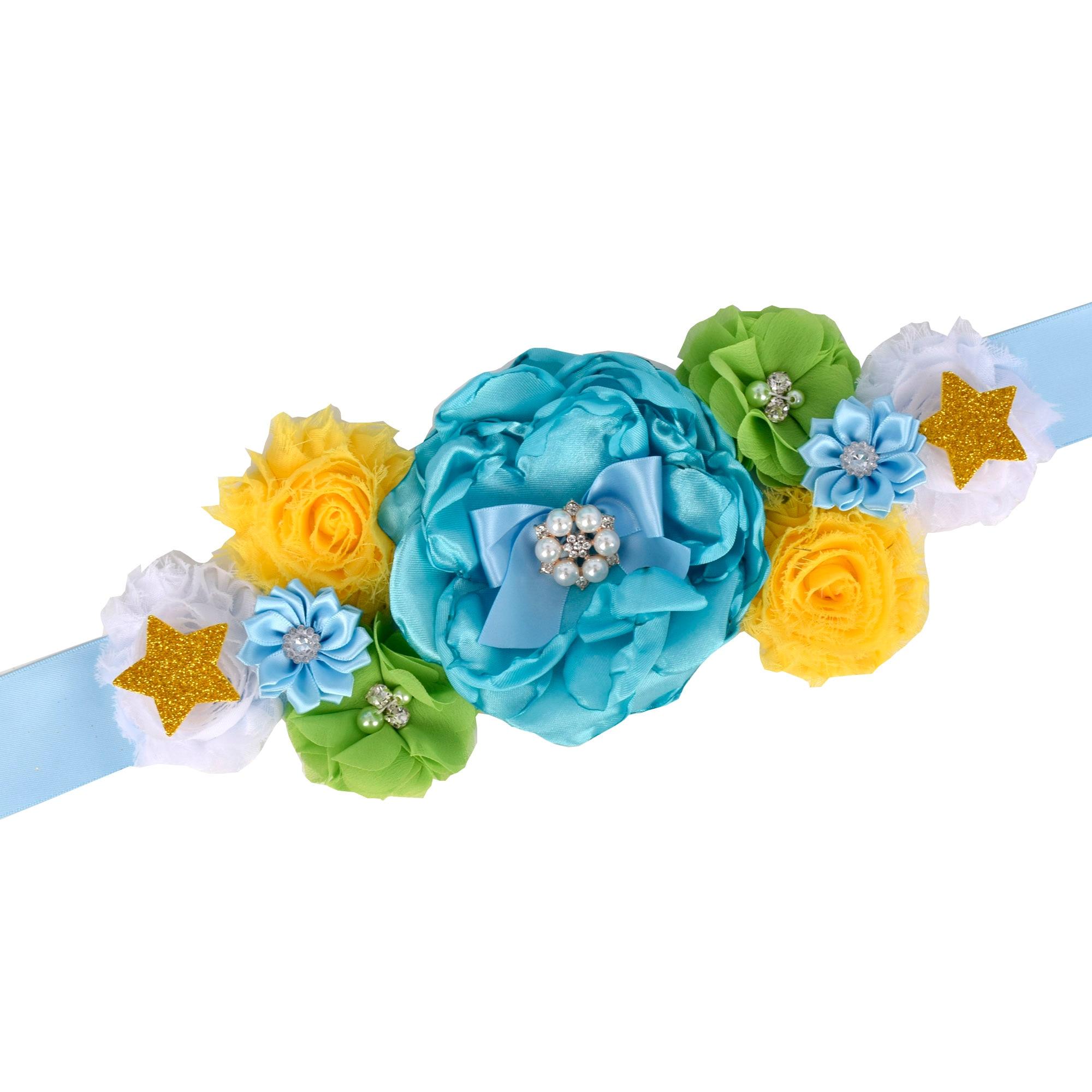 Maternity Sash Belt Blue Pregnancy Belly Belt Baby Shower Party Sash Gender Reveal Blet Custom Colors