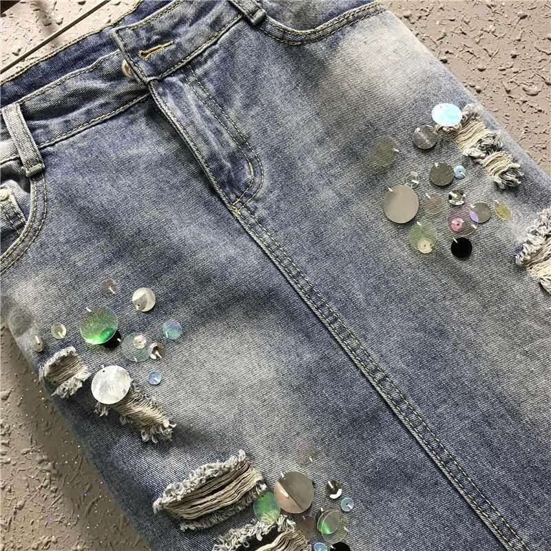 Vrouwen Nieuwe Mode Straight Hole Ripped Denim Vrouw Lange Faldas Casual Streetwear Zoete Lovertjes Vrouwelijke Wrap Rokken