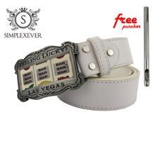 LAS VEGAS Poker Silver Western Belt Buckle for Men's Birthday Gifts with Leather Free Puncher