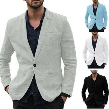 2020 Men Slim Fit Linen Blend Pocket Long Sleeve Suits Jacket Fashion Solid Color One Button Blazer Outwear Suit Jackets