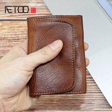 AETOO Tanning full pickup bag, business card mini wallet, handmade creative card clip, driving document storage bag