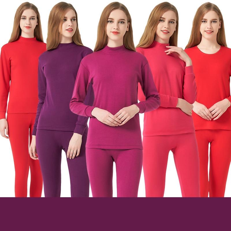 Women Winter Cotton Thermal Underwear Women Warm Suit Collar Base Women Thick Cozy Long Johns