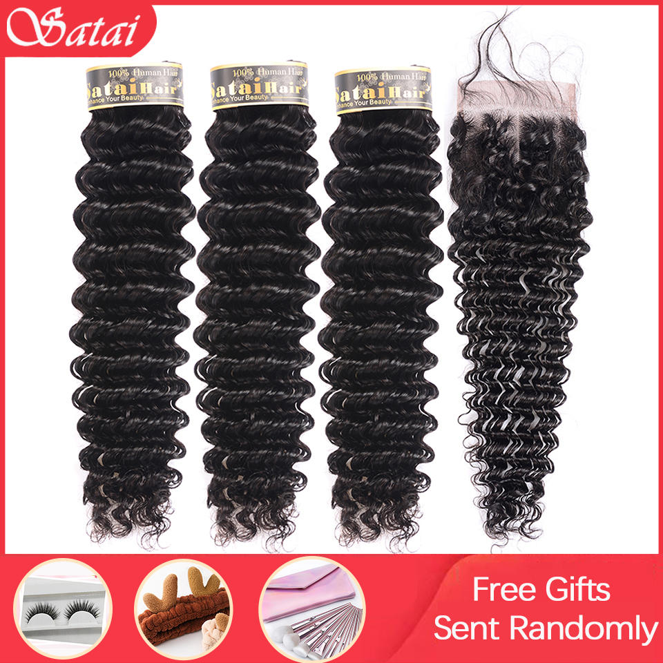 Satai Deep Wave 3 Bundles With Closure 100% Human Hair Bundles With Closure Brazilian Hair Weave Bundles Non-Remy Hair Extension