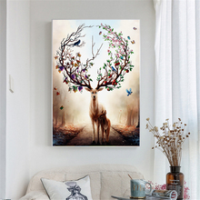 Nordic Elk Deer Canvas Paintings Modern Decorative Pictures Prints and Posters Parent-child for Living Room Decor