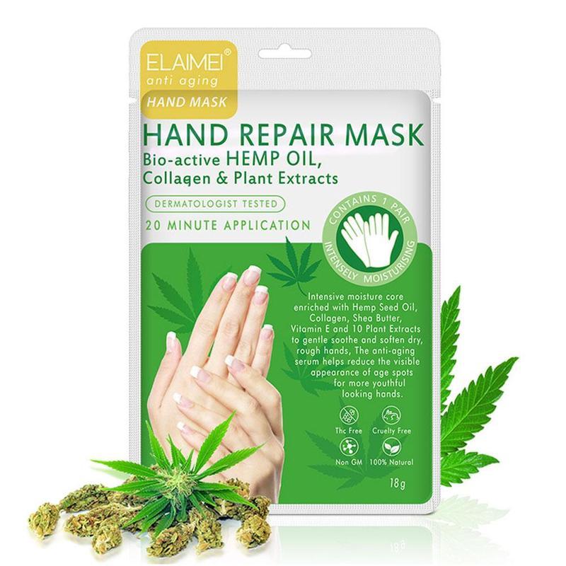 2pcs Hemp Oil Moisturizing Exfoliating Hand Foot Mask Glove Pedicure Socks Collagen Baby Hand Feet Skin Care Peeling Dead Cream