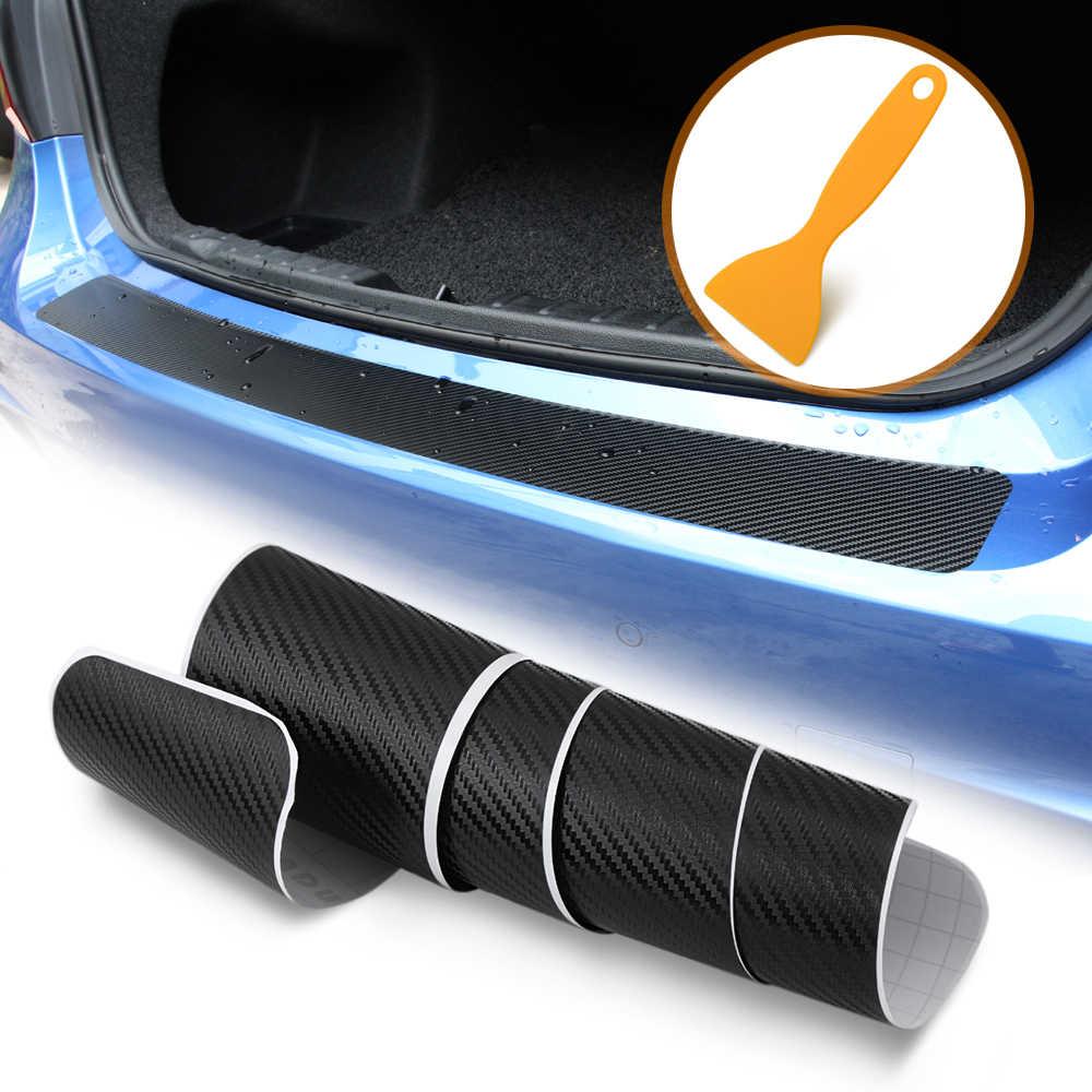 炭素繊維車のトランクリアバンパー保護ステッカーラジオ 2 din android ボルボ v70 bmw e61 シュコダラピッドフィアットブラボースバル
