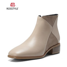 ROSSTYLE Handmade Woman Winter Ankle Boots Luxury Genuine Leather Retro Round Toe Low Heel Shoes Solid Elegant Slip-on Boots 2017 woman black gray genuine leather flats shoes casual retro round toe handmade slip on solid round toe chinese embroidered