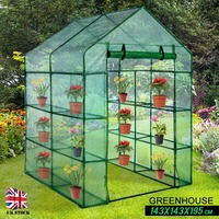 Green 143x143x195cm Greenhouse with Shelf PVC Plant Cover Outdoor Tent Plants Greenhouse Waterproof Protect Garden Plants Flower