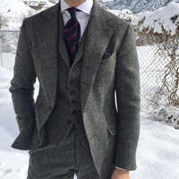 Gray Wool Men Suits For Wedding Formal Business Groom Tuxedo 3 Piece Wedding Tweed Man Suit Set Jacket Waistcoat with Pants