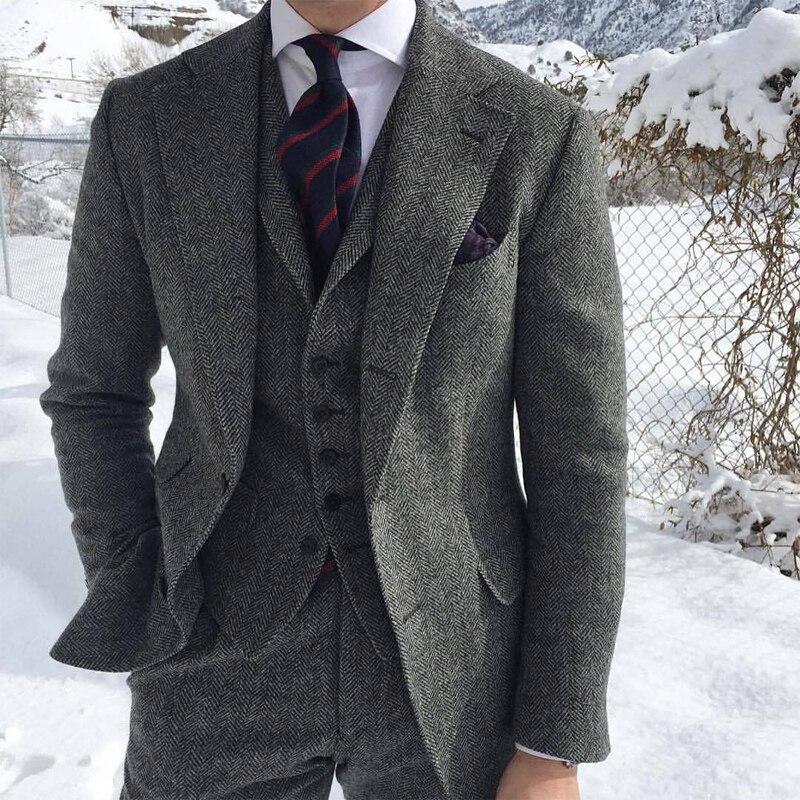 Herringbone Woollen Tweed Grey Men Suits For Formal Business Groom Wedding Tuxedo 3 Piece Man Set Jacket Waistcoat With Pants