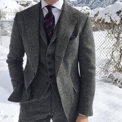 Visgraat Wol Grey Men Suits Voor Formele Zakelijke Bruidegom Bruiloft Smoking 3 Stuk Tweed Man Set Jacket Vest met Broek