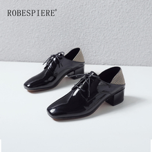 ROBESPIERE British Style Oxford Shoes Woman New Patent Leather Thick Heel Casual Pumps Gingham Lace Up Womens Derby A72