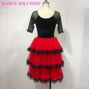 Image 4 - 3 Tiered Romantic Tutu Skirt with Lace for Girls & Women Ballerina Dance Costume Spanish Dress Mid Sleeve Long Ballet Tutu 19505