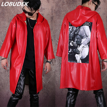 Men's Singer Concert Trench Costume Red Faux Leather Windbreaker Hooded PU Cloak Long Overcoat Tide Male Dancer Hip Hop Coat