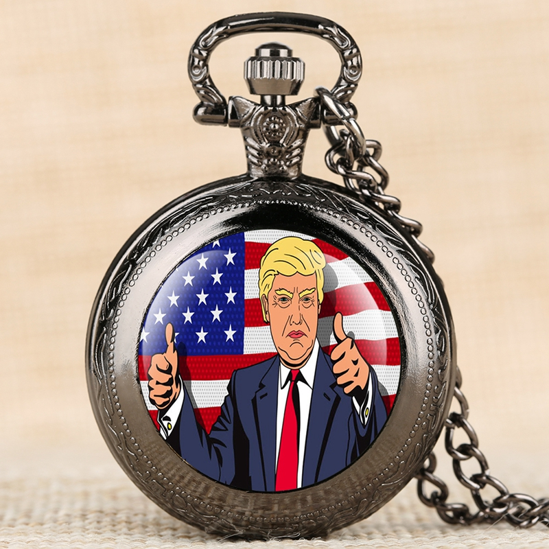 Donald Trump President Theme Necklace Quartz Pocket Watch Pendant Chain Clock Collectibles Make America Great Gift For Men Women