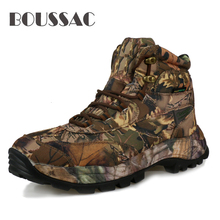 BOUSSAC Men Outdoor Waterproof Hiking Shoes Military Army Combat Tactical Shoes Boots Fishing Climbing Camouflage Shoes men s hiking shoes outdoor sneakers anti skid hunting climbing shoes men s military tactical army shoes breathable hiking boots