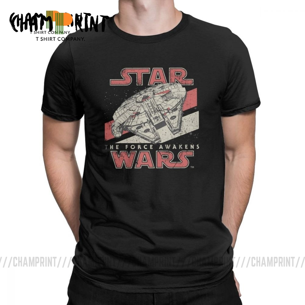 Men T Shirt Darth Vader Star Wars Vintage Short Sleeve The Force Awakens VII Starwars Tees O Neck Tops Cotton T-Shirt Plus Size