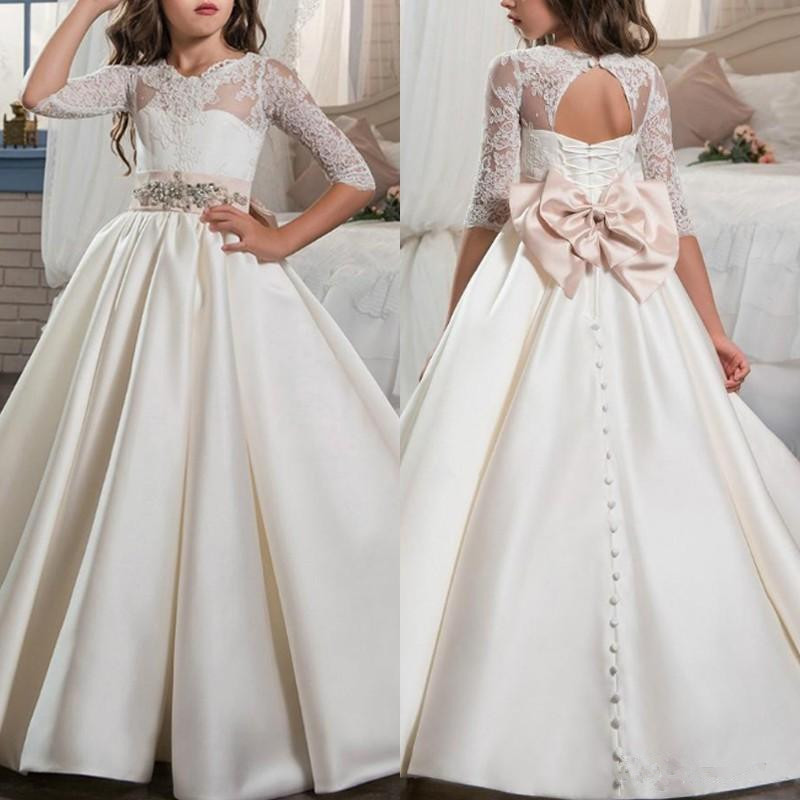 Flower Girls Dress With Bow Elegant First Holy Communion Gowns Jewel Neck Lace Open Back Satin Pageant Dress For Girls