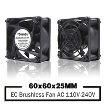 YOUNUON Dual Ball 60mm 6CM 60x60x25mm EC Brushless Fan AC 110V 115V 120V 220V 240V Axial Fan With Srwes & Fan Grills 6025 original new ebm papst ac3200jh ac 3200 jh ac 115v 230v 12w 92x92x38mm server square fan