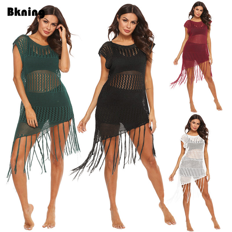Womens Beach Cover Up Dresses Long Tassel Fishnet Tunic Bathing Suit Coverups Wrap Black Bikini Swim Dress 2020 Plus Size S- XL