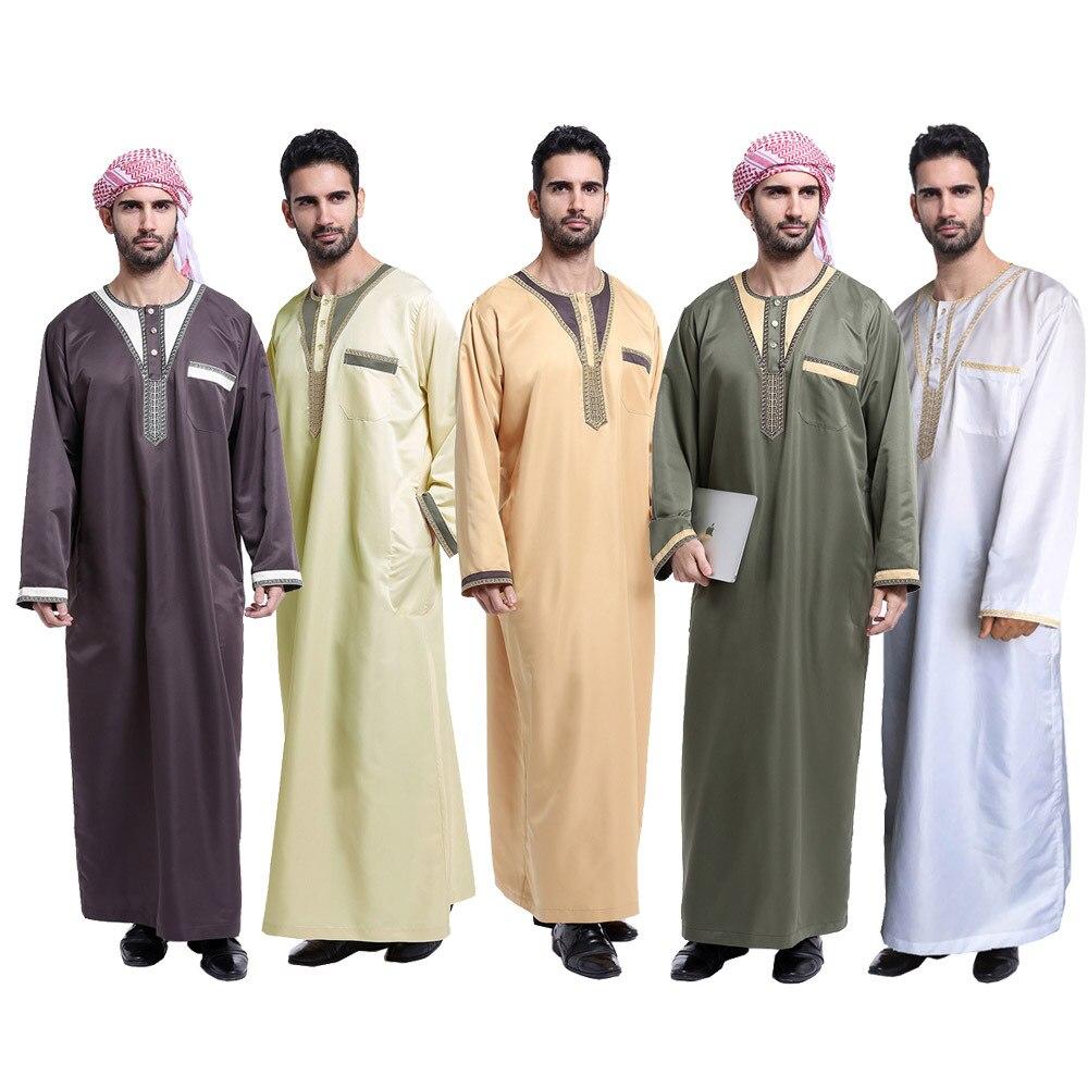 Мусульманский ислам ic одежда для мужчин jubba ТОБ карман о-образным вырезом кимоно длинный халат Саудовской муфульман одежда Кафтан абайя