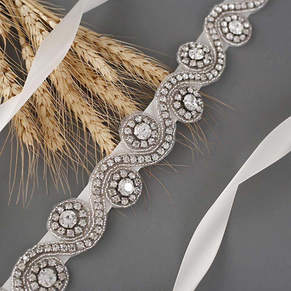 TRiXY S10 Silver Diamond belts for Women Belt Marriage Bridal Belts Sparkly Rhinestone Bridal Sash Wedding Belt Accessories