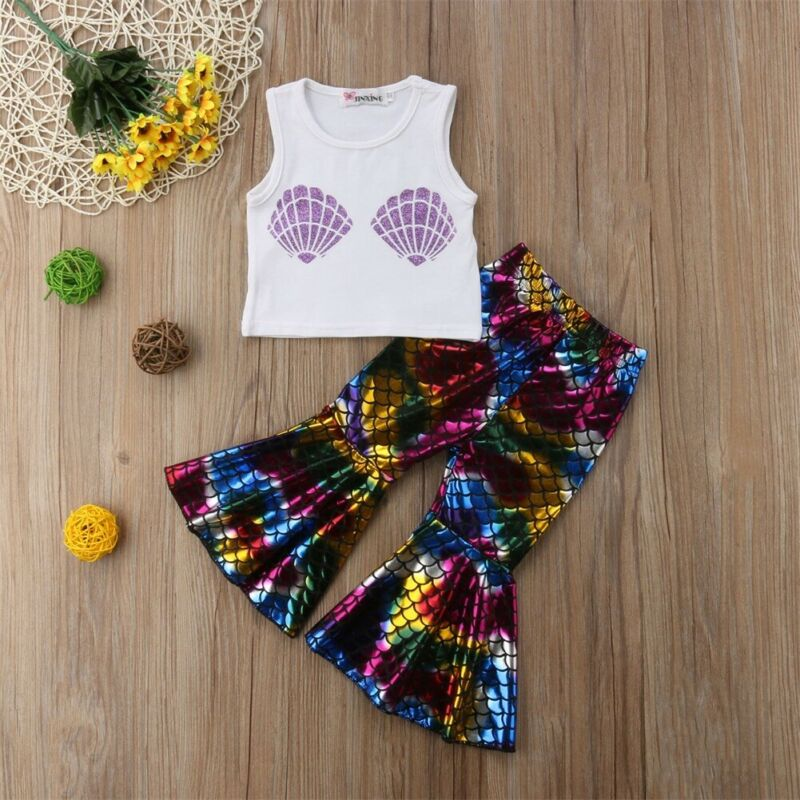 2PCS Toddler Kids Baby Girls Cotton Sleeveless Fashion Mermaid Tops Flare Pants Outfits Clothes