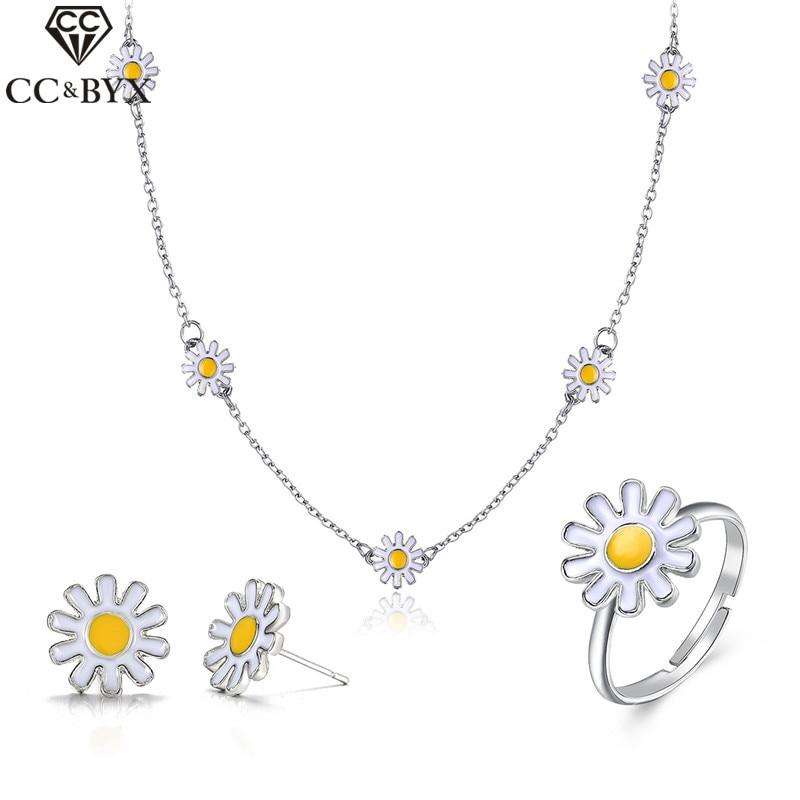 CC Fashion Jewelry Set Necklace Stud Earring Adjustable Ring 3pcs Set Flower Shape Fine Party Accessories Elegant Wholesale YH47