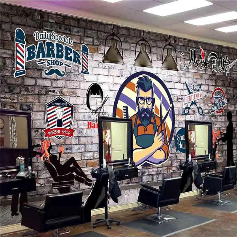 Custom Wall Paper 3d European Hand Painted Retro Barber Shop Hair Salon Background Mural Wallpaper 3d Industrial Decor Murals Aliexpress
