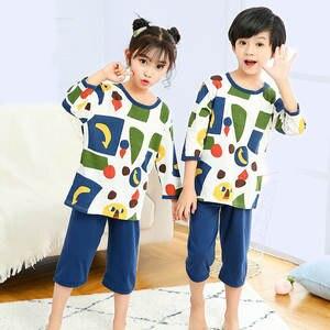 Boys Pajamas Nightwear Kids Children's Baby Sleepwear Inflantil Girls Cotton Summer Half