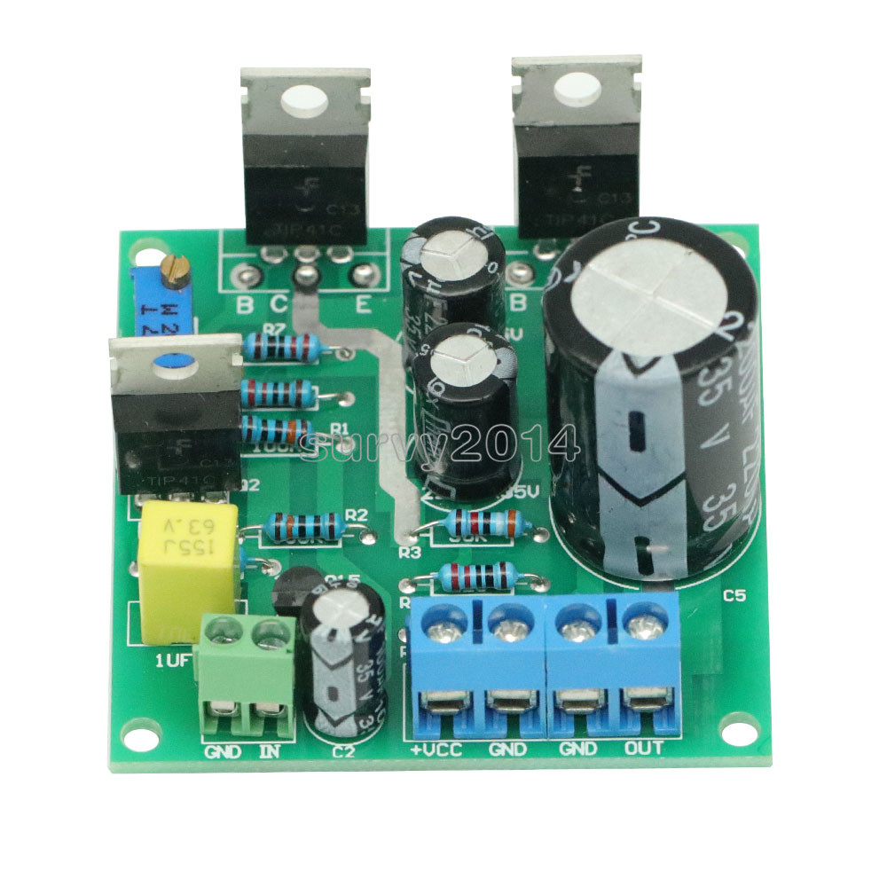 DC 12V-30V 24V Mini 1969 TIP41C 1 CH Amplifier Assemble Board Pure Class A Sealed multi-turn adjustable resistance Module