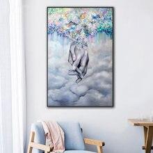 Картина на холсте с изображением бабочек пальцев настенные художественные