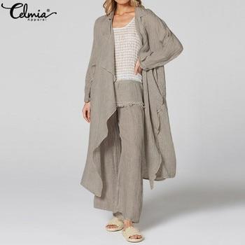 Vintage Women Kimono 5XL Celmia  Casual Long Sleeve Blouses Female Loose Beach Long Cardigan Solid Autumn Shirts Plus Size Tops 1