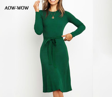 цена на 2019 winter autumn elegant  knitted sweater bandage plus size midi long Lace sleeve green black red fall sexy women dress