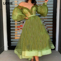 LORIE Elegant Green Pearls Prom Dress 2020 A line Ankle Length Puff Full Sleeves Formal Evening Party Dress Cocktail Dress Dubai
