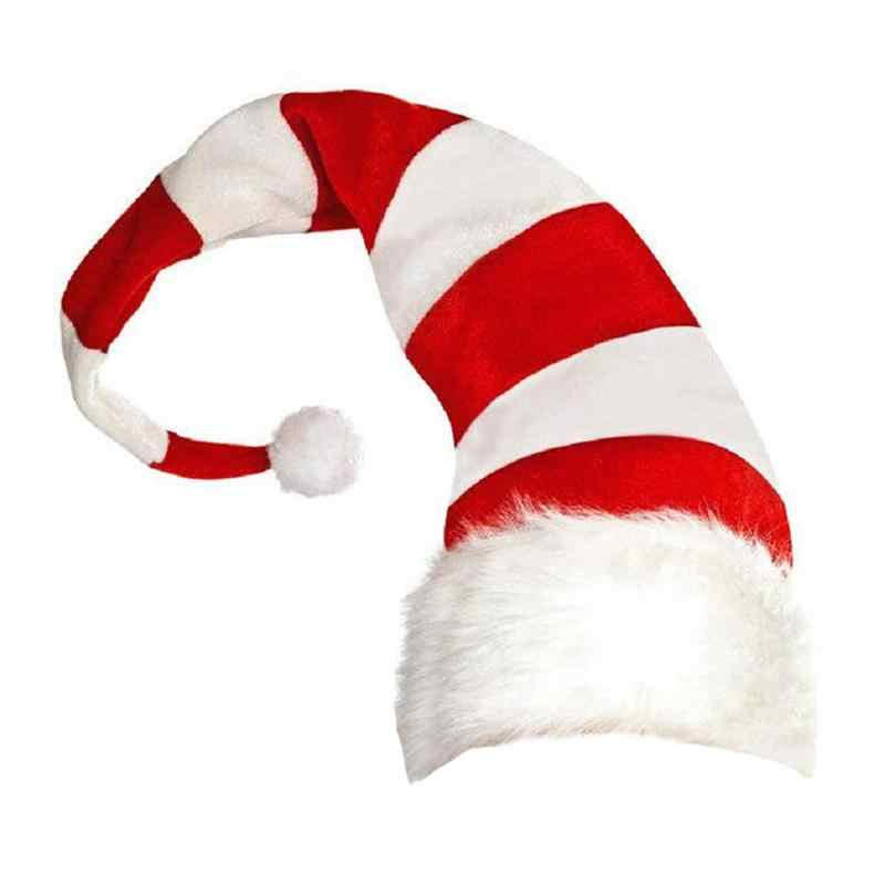 1pc Christmas Hat Cute Stripes Cartoon Creative Santa Claus Hat Elf Style Christmas Hats Decorative Headdress Party Cap 42x20cm