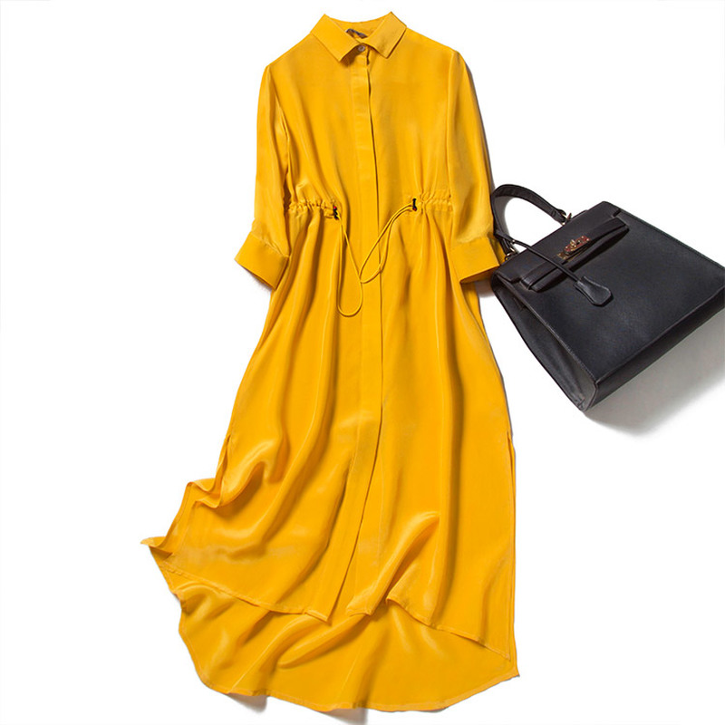 100% Natural Silk Shirts Dress Asymmetrical Normcore/Minimalist Solid 3/4 Sleeve Turn-down Collar 2020 Summer Elegant Dresses