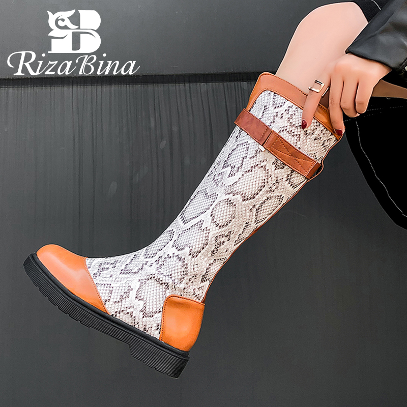RIZABINA Women Knee Boots Fasion Winter Shoes Women Warm Fur Zipper Flats Long Boots Patchwork Office Lady Footwear Size 34-43