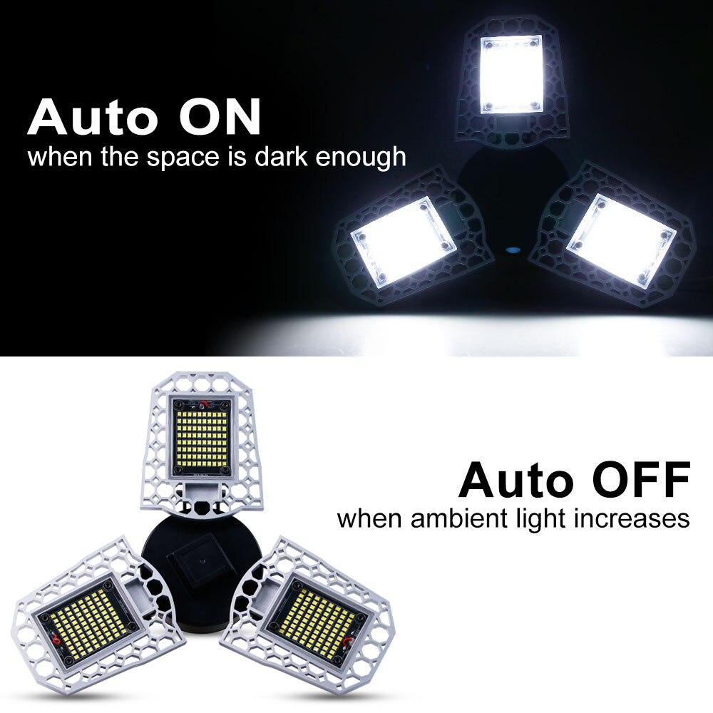 Led Garage Light 60W 80W 100W LED Lamp E27 220V LED Bulb Sensor E26 Deformable Lamp For Factory Warehouse Outdoor Lighting 110V