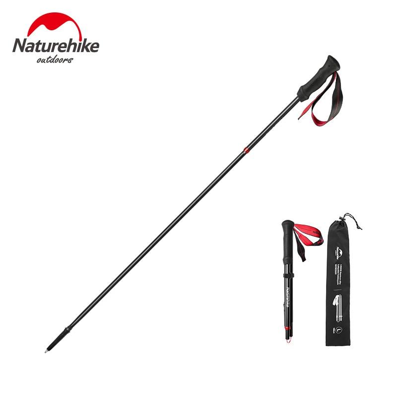 Naturehike 1 Pcs New Folding Ultralight Walking Stick 4-section Climbing  Walking Hiking Adjustable Aluminum Alloy Trekking Pole