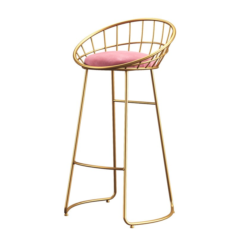 Nordic Minimalist Bar Chair Lounge    Wrought Iron  Gold High Stool Modern Dining  Wire