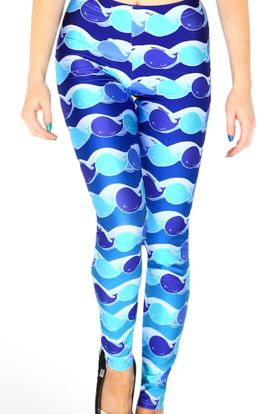 New Products Digital Printing Cartoon Whale Tight Leggings Elasticity WOMEN'S Pants Qian Shui Ku