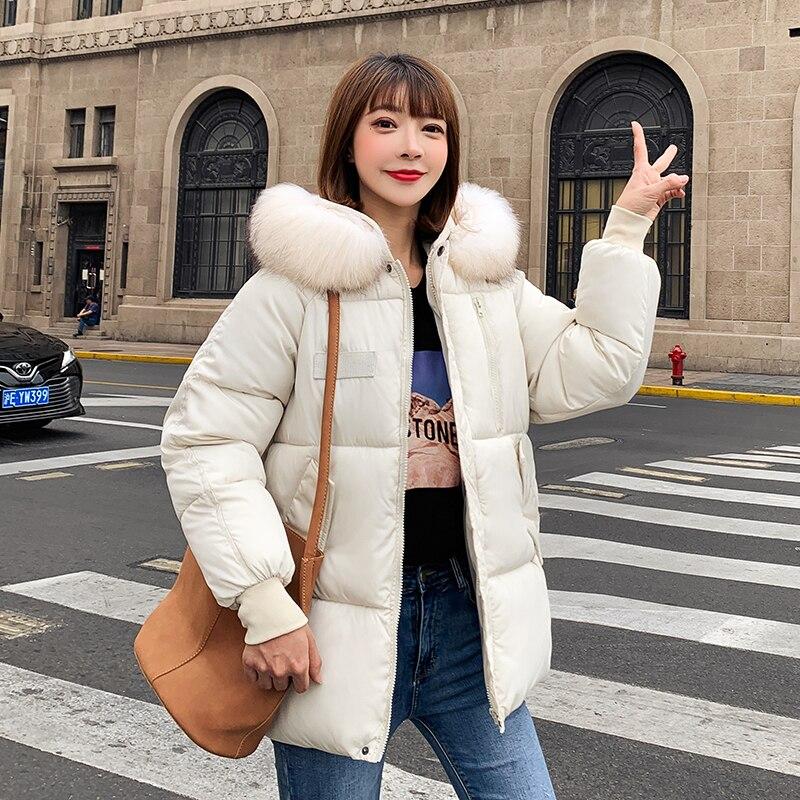 Plus Size Fur Collar Parka Down Cotton Jacket Winter Jacket Women Thick Snow Wear Coat Lady Clothing Female Jackets Parkas