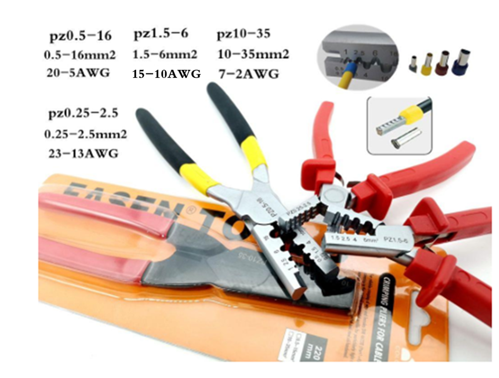 PZ0.5-16 PZ10-35 PZ0.5-6Crimping Pliers For Terminals Upgraded Version Hand Tools Crimping Tool With Cutter Crimper Tool Pliers