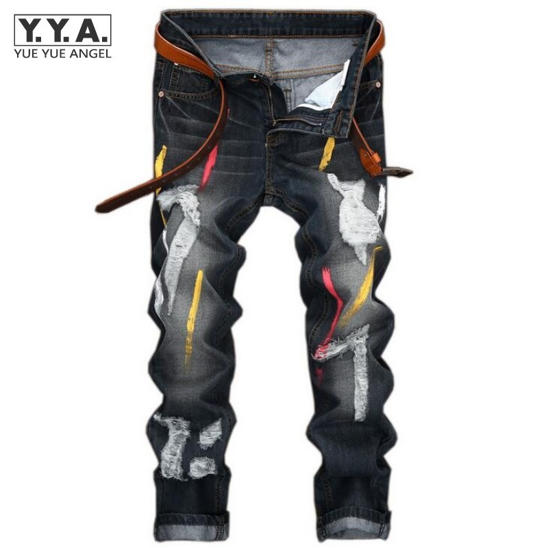 High Quality Mens Jeans Ripped Colorful Printed Demin Pants Slim Fit Straight Casual Classic Hip Hop Trousers Ripped Streetwear