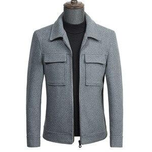 Image 2 - 2019 otoño nueva chaqueta de lana para hombres moda de negocios Color sólido dos bolsillos abrigo de herramientas ropa de marca masculina gris caqui negro