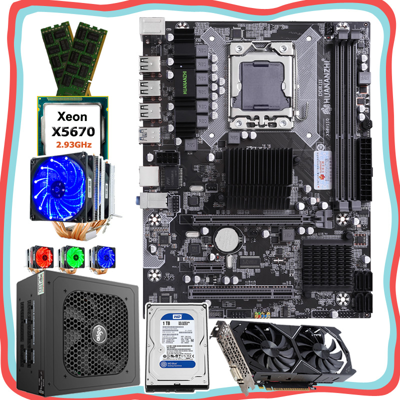 HUANANZHI quality PC parts X58 <font><b>Motherboard</b></font> with CPU Intel Xeon <font><b>X5670</b></font> 2.93GHz RAM 32G(2*16G) 1TB HDD PSU 500W GPU GTX1050Ti 4G image